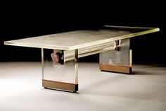 Cast Glass Sculptured Pedestals and Tables