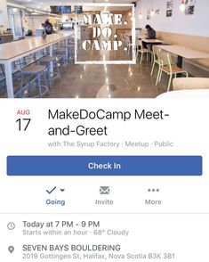@make.do.camp meet/greet TONIGHT 7  9pm at @sevenbays ... FREE! PUBLIC! FRIENDLY!  Are you coming or interested in coming to Make.Do.Camp.? Come and meet the staff and leaders Make.Do.Camp.! We'll have free snacks cash bar and some more information about the camp the people who are part of it and how you can be a part too!  We're grateful to use the beautiful café/bar space of Seven Bays Bouldering at Gottingen and Cogswell.  More about Make.Do.Camp.: Make.Do.Camp. is September 2-5 in Big…