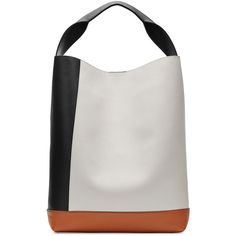 Marni Leather Tote ($1,200) ❤ liked on Polyvore featuring bags, handbags, tote bags, multicolor, сумки, leather handbags, white leather tote, leather purse, tote handbags and hand bags