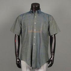 Mens 1960s Shirt  Deadstock Bleeding Madras Short by jauntyrooster