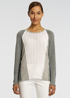 -Delave Hemp Panelled Sweater | Lafayette 148 New York