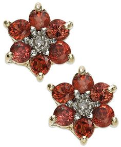 Victoria Townsend 18k Gold over Sterling Silver Earrings, Garnet (1-5/8 ct. t.w) and Diamond Accent Flower Stud Earrings