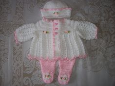 Crochet Baby Girl  Sweater Set Layette And Leggings Perfect Take Home Outfit