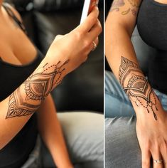 Unique ➿ Wrist Tattoos Forearm Tattoos for Women with Meaning - Page 23 of 80 - Diaror Di. Wrist Hand Tattoo, Mandala Wrist Tattoo, Forearm Tattoos, Finger Tattoos, Arm Cuff Tattoo, Henna Arm Tattoo, Henna Mandala, Hand Wrist, Lotus Tattoo