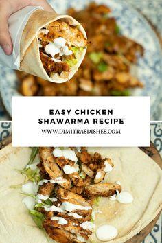 Greek Chicken Recipes, Chicken Flavors, Greek Recipes, Healthy Chicken Recipes, Cooking Recipes, Healthy Food, Healthy Eating, Kebab Recipes, Wrap Recipes