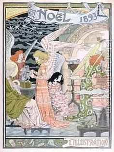"""artnouveaustyle: """" lost-in-centuries-long-gone: """" L'illustration, Noel, Eugene Grasset 1893 """" Merry Christmas and happy Holidays everyone! Christmas Images, Christmas Angels, Christmas Art, Vintage Christmas, Xmas, Christmas Night, Christmas Nativity, Illustration Française, Christmas Illustration"""