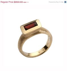 On Sale 20 Garnet Rectangular Ring Red garnet by EttyJewelry