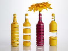 DIY Painted-Stripe Wine Bottle Vases
