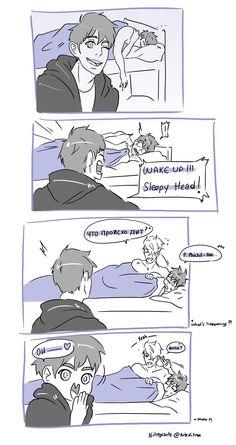 Wake up Sleepy Head ! by NitroxArts ユーリ!!! On Ice, Ice Ice Baby, Anime Guys, Manga Anime, Yuri On Ice Comic, Katsudon, Yuri Katsuki, Fanart, Kaichou Wa Maid Sama