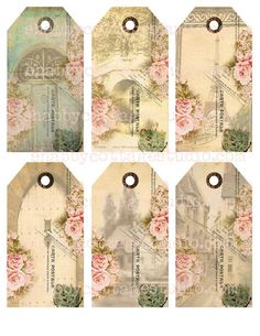 INSTANT DOWNLOAD Digital Collage Sheet TAGS French Postcard Floral scene Rose Paris Shabby Cottage