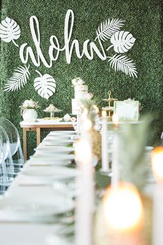 Say aloha to this Hawaiian-inspired bridal shower. Ideal for a destination wedding, this island party theme incorporates modern design elements like a flower photo background, naked cake, and pineapple decor. Luau Bridal Shower, Tropical Bridal Showers, Beach Bridal Showers, Bridal Shower Photos, Bridal Shower Games, Bridal Shower Decorations, Wedding Decorations, Wedding Showers, Tropical Party
