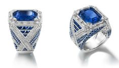 Chaumet. Gold, diamond and sapphire ring featuring a 10.81ct center stone.
