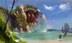 Speedpainting 5 - Guild wars 2 fanart by Grobelski on DeviantArt Fantasy Beasts, Fantasy Art, Guild Wars 2, Alien Races, Funny Tattoos, Creature Concept, Outdoor Art, Creature Design, Mythical Creatures