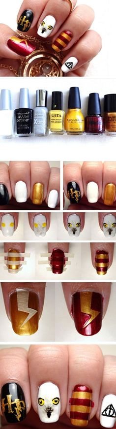 22 DIY Back to School Nails for Kids - Imperfect . 22 DIY Back to School Nails for Kids – Imperfectly Rachael – # nails Trendy Nail Art, Nail Art Diy, Diy Nails, Harry Potter Nail Art, Do It Yourself Nails, Back To School Nails, Nail Art For Kids, Fall Nail Colors, Rainbow Nails