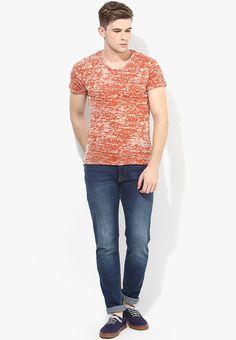 c13e1b4f99 Buy Sisley Orange Solid V Neck T-Shirt Online - 4762318 - Jabong