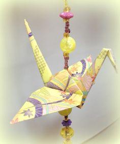 beaded crane ornament, origami decoration, hanging origami cranes