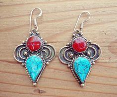 Turquoise earrings- Turquoise jewelry- Tibetan jewelry- Turquoise earrings- Ethnic jewelry- Turquoise stone earring- Boho turquoise earring by ZamarutJewel on Etsy