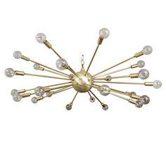 Matte Brass Sputnik Chandelier  Italy  1950's