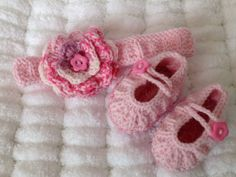 Hand Knitted Baby Headband with Crochet flower
