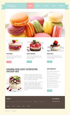 Template 40806 - Cakes & Pastry Joomla Theme With jQuery Image Slider & Drop Down Menus