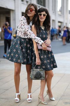 Pin for Later: The 50 Best Street Style Looks of 2014  Matching pals Eleonora Carisi and Valentina Siragusa showed us how to complement your prints and how to complement each other.