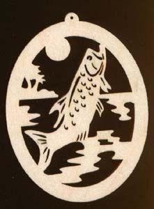 4 inches tall Fish Bass Christmas Ornament Natural Wood Cutout 782-4