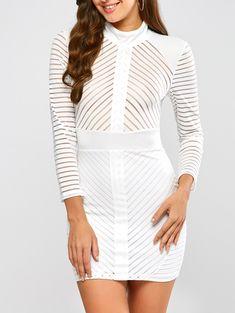 Semi Sheer Mini High Neck Dress in White   Sammydress.com