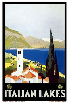 Italian Lakes ~ Italy vintage travel poster