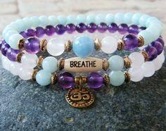 Yoga set of 3 choose word Amethyst Aquamarine by LifeForceEnergy, $39.00