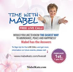 Free Live Call with Mabel! ✨ Would you like to know The Easiest Way to Abundance, Peace and Happiness? Mabel has the Answers! Sign up for the Live Call HERE http://bit.ly/2iWMBqD