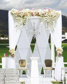 Beautiful Outdoor Wedding in SA! @valdevieestate planner: @nicola_nics of @thealeitgroup florals @liezlkotzefloralart gazebo & draping @somethingdifferentsa #BellaNaijaWeddings