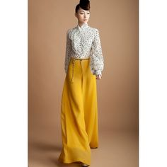 Yellow chiffon jupe pantalon super wide pants skirt long white jupe-culotte