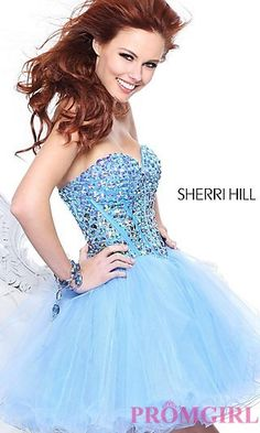Short Strapless Baby Doll Dress by Sherri Hill at PromGirl.com