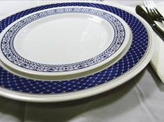 100ct. DISPOSABLE CHINA LOOK PLATES & BOWLS MAGNIFICENT NAVY DISPLOMAT NEW STYLE