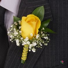 Yellow and White Roses & Baby's Breath Groom's Boutonniere
