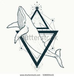 Whale tattoo geometric style. Mystical symbol of adventure, dreams. Travel, adventure, outdoors symbol whale marine tattoo. Creative geometric whale tattoo art t-shirt print design poster textile