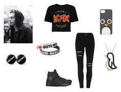 """I'm a Tad Bit Obsessed with Band Merch and Penguins"" by demonlover2002 ❤ liked on Polyvore featuring Boohoo and Converse"