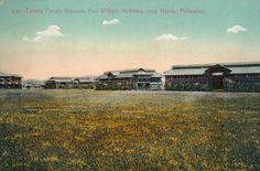 Colorized postcard of the Main Cavalry Parade Ground on Fort McKinley. The largest military post outside of the United States.