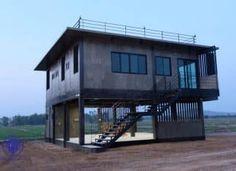 Stilt House Plans, Lake House Plans, House On Stilts, Loft House, House Rooms, House In The Woods, My House, Unique Small House Plans, Thai House