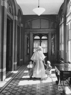 Nun Walking with Children at the New York Foundling Hospital Premium Photographic Print by Carl Mydans