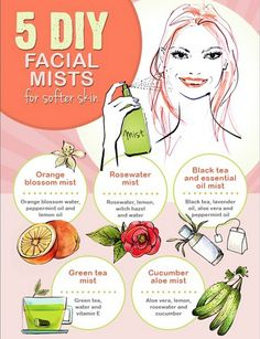 5 DIY facial mists Is your skin in need of a pick-me-up? Get glowing, softer skin with these DIY facial-mist recipes. Beauty Care, Diy Beauty, Beauty Hacks, Zoella Beauty, Mally Beauty, Diy Cosmetic, Piel Natural, After Sun, Facial Care