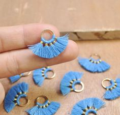 1 Pair Small Fan Tassels,Sky blue Tassel earring pendant, Cotton tassels in gold color round brass loop / ring - - Ohringe Ideen Blue Tassel Earrings, Tassel Jewelry, Fabric Jewelry, Rose Gold Earrings, Unique Earrings, Diy Earrings, Crystal Earrings, Crystal Jewelry, Earrings Handmade
