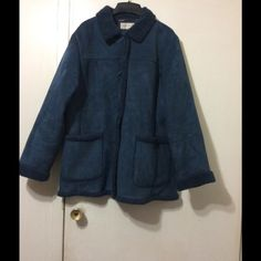 Winter Coat Very warm and comfortable faux suede and shearling coat. It's a beautiful shade of blue. It comes mid thigh. Free matching hat and leather gloves with purchase. Jones New York Jackets & Coats
