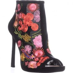 Jessica Simpson Pascall Peep Toe Booties, Black    #jessicasimpson #spring #springstyle #springfashion #flowers #floral #embroidery #shoes #shopping #style #trending #fashion #womensfashion Spring Step, Black Booties, Rubber Rain Boots, Spring Fashion, Peep Toe, Booty, Trending Fashion, Floral Embroidery, Heels
