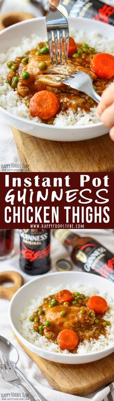Instant Pot Guinness Chicken Thighs are the perfect weeknight dinner recipe. Juicy, easily pulled chicken cooked in Guinness flavored sauce can be served with rice or mashed potatoes. #chicken #thighs #guinness #instantpot #recipe #pressurecooker #comfortfood #dinner #lunch #cooking #howtocook via @happyfoodstube