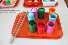 Autismus Arbeitsmaterial: TEACCH: Klopapierrollen und Farben