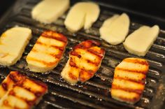 Halloumi is a goat's milk cheese that you put right on the grill. Warm, gooey and salty.