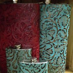 64oz turquoise leather flask Call for details 281-232-6033 $54.00