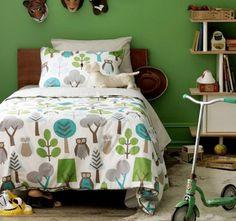 Love the Dwell Studio Owl bedding - for big girl room? Owl Bedding, Duvet Bedding Sets, Chic Bedding, Luxury Bedding, Green Bedding, Nursery Bedding, Comforters, Bed Sets, Boys Room Decor