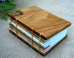 black oak artisans 192 Page Canarywood Covered Journal with coptic stitch binding and decorative signature wrappers